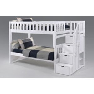 Peppermint Stair Bunk in White Finish
