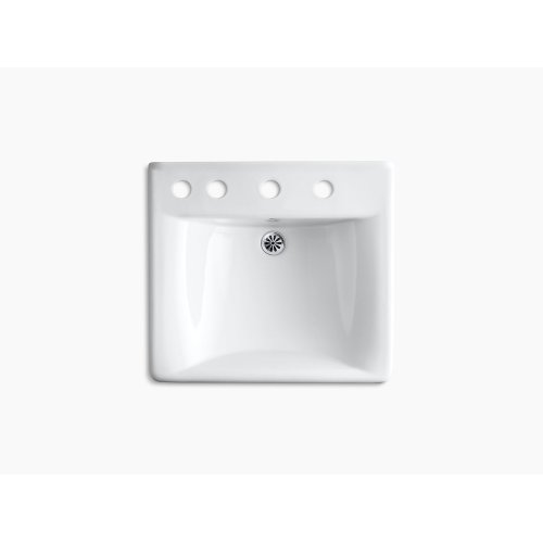 "White 20"" X 18"" Wall-mount/concealed Arm Carrier Bathroom Sink With 8"" Widespread Faucet Holes and Left-hand Soap Dispenser Hole"
