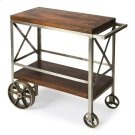 "Serve guests in style with this modern industrial trolley cart. Forged from iron, its frame has a zinc silver finish with stylish ""X side panels, and the mango wood top and bottom shelf have a vintage butcher block look in a clove brown finish. Use it for Product Image"