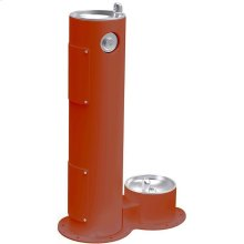 Elkay Outdoor Fountain Pedestal with Pet Station, Non-Filtered Non-Refrigerated, Freeze Resistant, Terracotta
