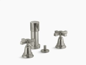 Vibrant Brushed Nickel Pure Vertical Spray Bidet Faucet With Cross Handles Product Image