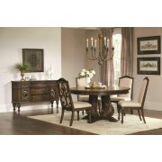 Ilana Traditional Antique Java Round Formal Five-piece Dining Table Set Product Image