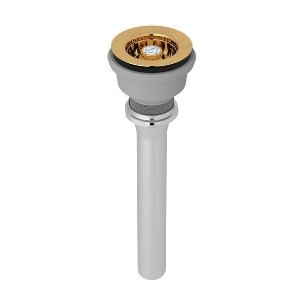 """Italian Brass Shaws Manual Mini Basket Strainer With Shaws Logo Branded White Porcelain Pull Knob And 1 1/2"""" X 1 1/4"""" X 8"""" Reducing Flanged Tailpiece"""