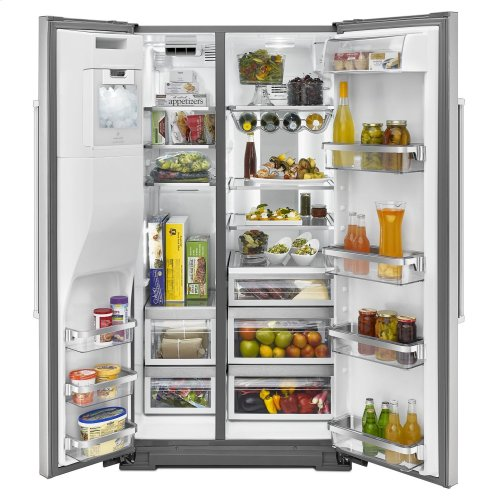 24.8 Cu. Ft. Standard Depth Side-by-Side Refrigerator with Exterior Ice and Water Stainless Steel