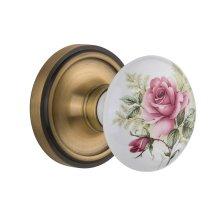 Nostalgic Warehouse - Single Dummy- Classic Rose with Rose Porcelain Knob in Antique Brass