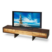This sleek, modern entertainment center features a low profile design for your wide screen television and three touch-opening doors for components storage. It is beautifully crafted from solid sheesham wood and recycled teak with a two-tone natural/espres