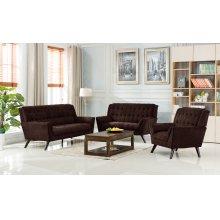 Elston Brown Mid-Century Fabric Sofa
