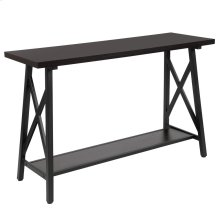 Rustic Espresso Wood Finish Console Table