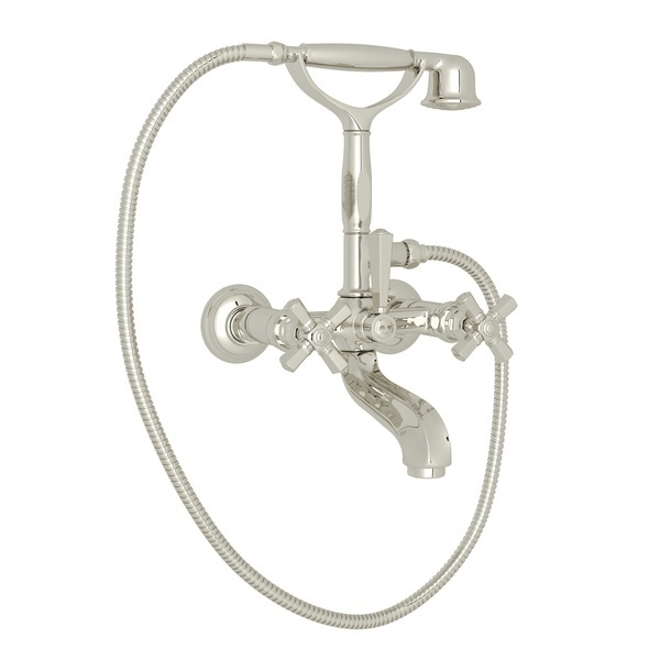 Polished Nickel Palladian Exposed Tub Set With Handshower with Cross Handle