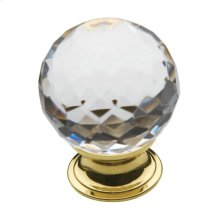 Polished Brass Crystal Cabinet Knob