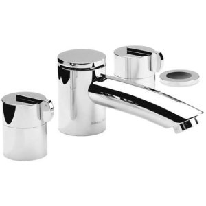 "Satin Nickel (us15) 4 Hole tub filler, 8"" spout length"