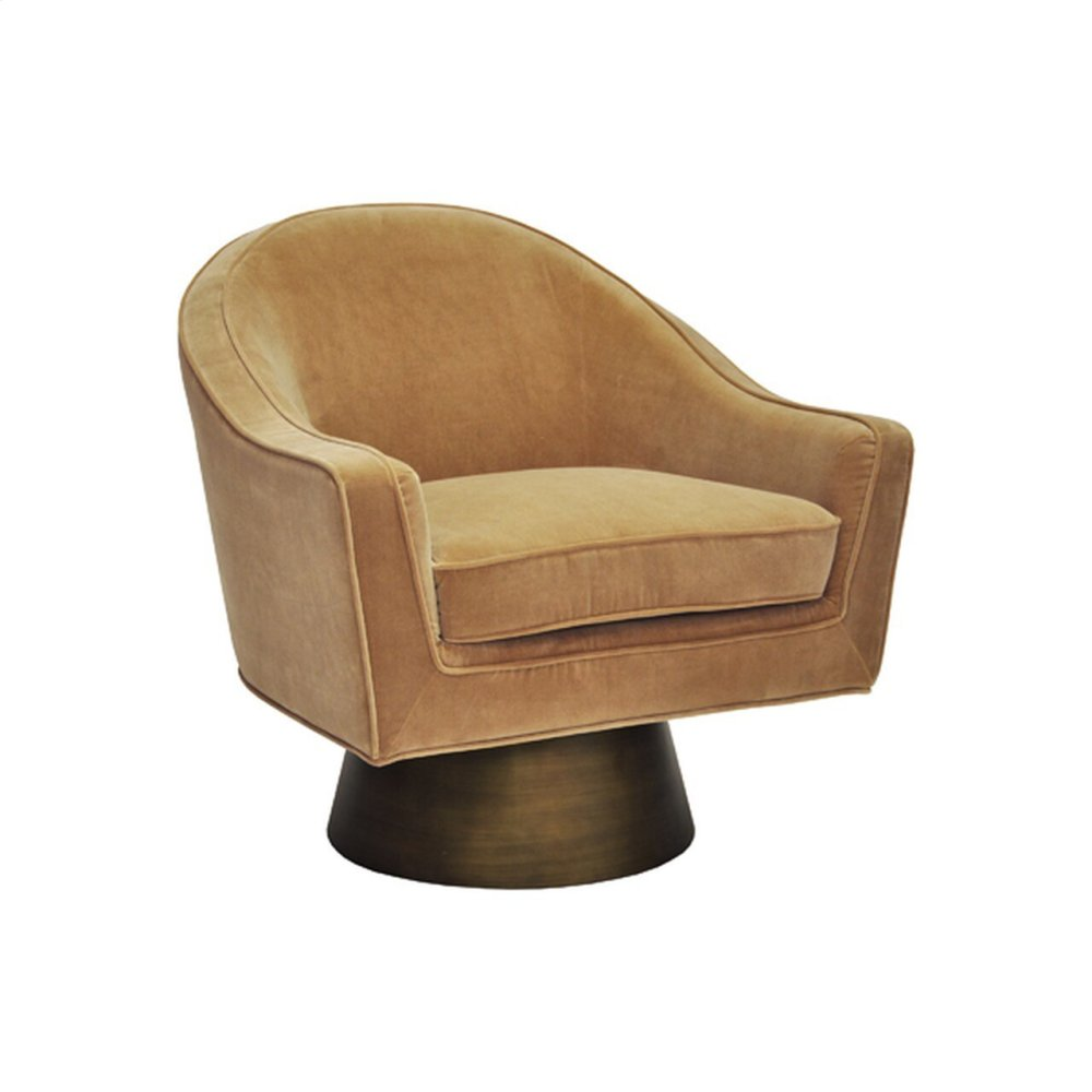 Modern Swivel Chair With Bronze Base In Camel Velvet
