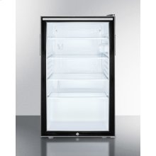 "Commercially Listed 20"" Wide Glass Door All-refrigerator for Built-in Use, Auto Defrost With A Lock, Horizontal Handle and Black Cabinet"
