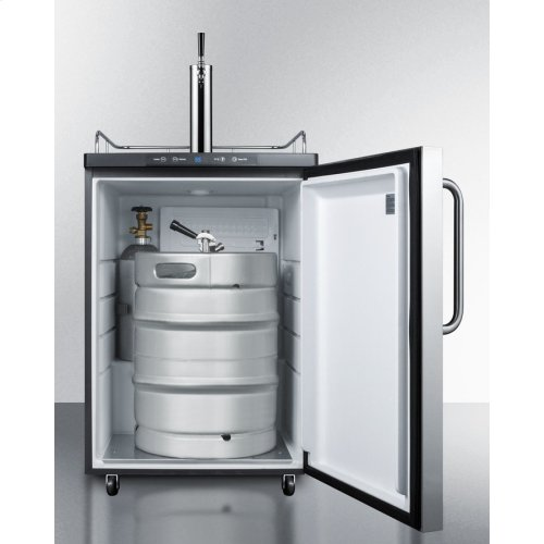 Built-in Commercially Listed Beer Dispenser, Auto Defrost With Digital Thermostat, Stainless Steel Door, Towel Bar Handle, and Black Cabinet