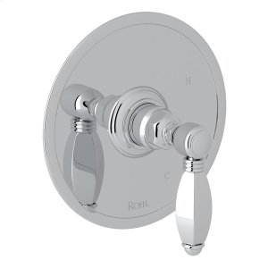 Polished Chrome Italian Bath Pressure Balance Trim Without Diverter with Hex Series Only Metal Lever Product Image