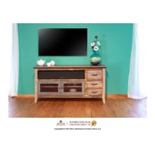 62in TV Stand w/3 drawers and 2 iron mesh doors