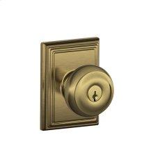 Georgian Knob with Addison trim Keyed Entry Lock - Antique Brass