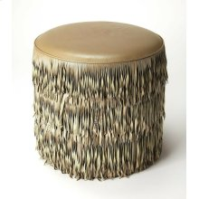 This Ottoman is a decorative and functional addition to your home decor. This rounded ottoman has a MDF frame, which ensures years of reliable use. It features high-quality leather and PVC upholstery that makes comfortable and durable. The stylish stool i