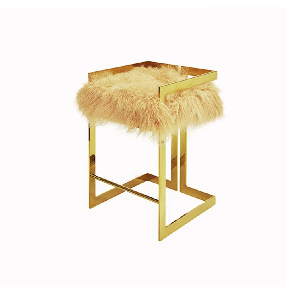 """Counter Height Brass Stool With Natural Mongolian Fur Cushion - Seat Height: 27"""""""