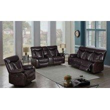 Zimmerman Dark Brown Faux Leather Power Motion Three-piece Living Room Set