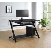 Contemporary Black Computer Desk Product Image
