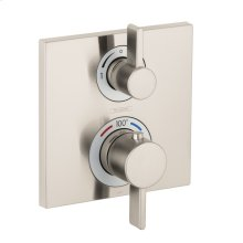 Brushed Nickel Thermostatic Trim with Volume Control and Diverter