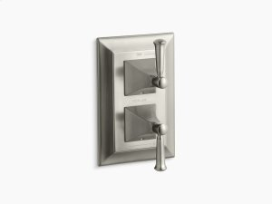 Vibrant Brushed Nickel Stately Valve Trim With Lever Handles for Stacked Valve, Requires Valve Product Image