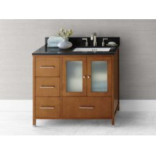 "Juno 36"" Bathroom Vanity Cabinet Base in Cinnamon - Doors on Right"