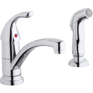 Elkay Everyday Two Hole Deck Mount Kitchen Faucet with Lever Handle and Side Spray Chrome Product Image