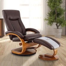 Hamar Recliner and Ottoman in Whisky Breathable Air Leather