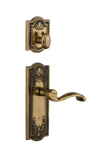 Grandeur - Single Cylinder Combo Pack Keyed Differently - Parthenon Plate with Portofino Lever and Matching Deadbolt in Vintage Brass Product Image