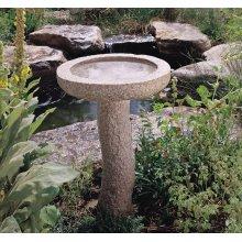 Rough Bird Bath Rough Birdbath, Complete Set / Rose Granite