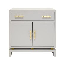 Matte Gray Lacquer (1) Drawer- 2 - Door Side Table With Gold Leafed Bamboo Hardware and Gold Leaf Detail On Base. Drawer On Glides. Non Adjustable Shelf In Middle of Interior.