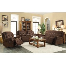Basha Brown Fabric Reclining Sofa
