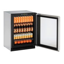 """2000 Series 24"""" Glass Door Refrigerator With Stainless Frame (lock) Finish and Right-hand Hinged Door Swing (115 Volts / 60 Hz)"""