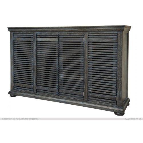 "67"" Console w/4 push doors, Parota wood, blue finish"