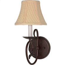 "1-Light 7"" Old Bronze Wall Sconce with Linen Waffle Shade"