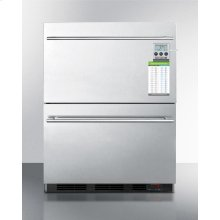 Built-in Commercial ADA Compliant 2-drawer All-refrigerator In Stainless Steel, W/digital Thermostat, Temperature Alarm and Hospital Grade Cord