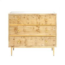 Burlwood 3 Drawer Chest With Gold Leaf Hardware & Base Beveled Mirror Inset Top