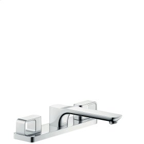 Chrome 3-hole rim mounted bath mixer