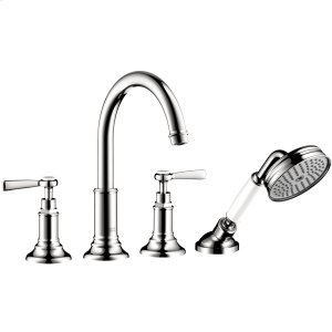 Chrome 4-hole rim mounted bath mixer with lever handles Product Image