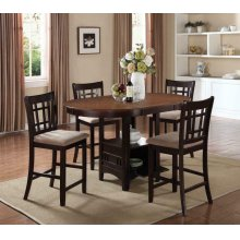 Lavon Transitional Espresso Five-piece Counter-height Dining Set
