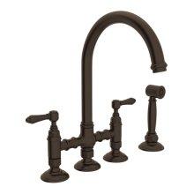 Tuscan Brass Italian Kitchen San Julio Deck Mount C-Spout 3 Leg Bridge Kitchen Faucet With Sidespray with Metal Lever