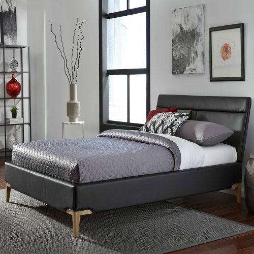Lakeview Complete Platform Bed with Upholstered Frame and Exposed Wood Legs, Obsidian Finish, King