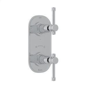 """Polished Chrome Campo 1/2"""" Thermostatic/Diverter Control Trim with Industrial Metal Levers Product Image"""