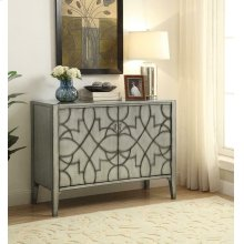 Transitional Silver Two-door Accent Cabinet
