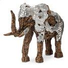 Wood Crafted Elephant W/aluminum, Medium Product Image