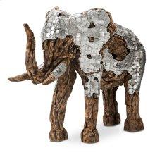 Wood Crafted Elephant W/aluminum, Medium
