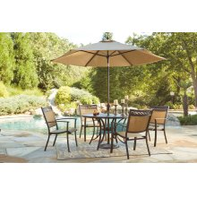 Carmadelia - Tan/Brown Patio Set with Umbrella