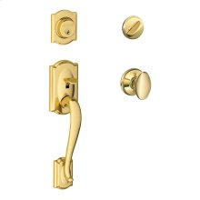 Camelot Single Cylinder Handleset and Siena Knob - Bright Brass